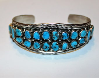 017633ff5a64 Navajo Sterling Silver   Turquoise cuff bracelet