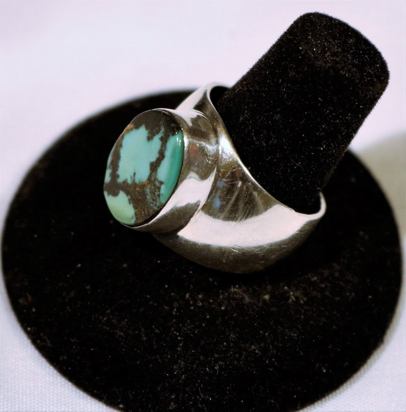 Number 8 Turquoise Sterling Silver Ring