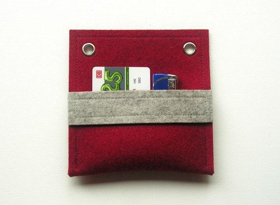 Visitenkarten Tasche 13x13cm 100 Wollfilz Wandtasche Kartenetui Ausweisetui Visitenkarten Etui Rot