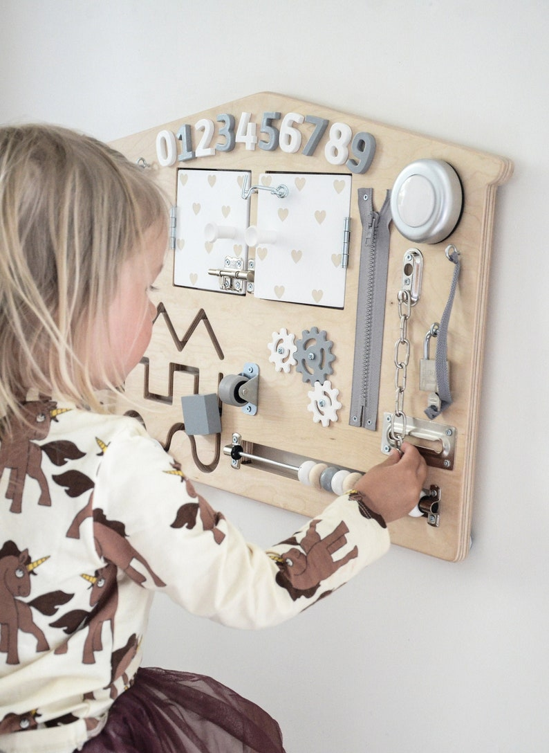 Busy Board Toddler Learning Activity Board  Natural Wood image 0