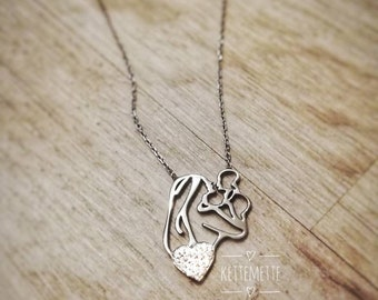 d16e2076f7 Mutter Kind Kette - Halskette mit Zirkonia - Echter Damenschmuck - Baby  Halskette