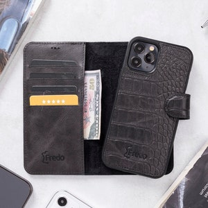Leather Croco Design iPhone 12 PRO MAX 6.7 iPhone 12 Pro Max Back Cover Phone Cases Magnetic Detachable Wallet Case with Card Slots
