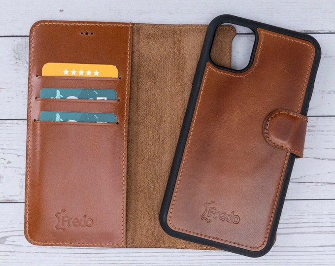 Cognac Brown Genuine Leather Magnetic Detachable Protective Wallet Back Cover Case with Card Slots by FredoLeather 5.8/'/' iPhone 11 Pro