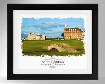 St Andrews Before Play Starts fine art giclee print from a watercolour original showing the Swilcan Burn on the Old Course a signed