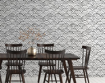 Scallop Peel & Stick Wallpaper, Seashell Self Adhesive Wall Mural, Geometric Removable Decal, Black and White Vintage Temporary Wall Decor