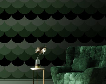 Scallop Peel & Stick Wallpaper, Geometric Seashell Self Adhesive Wall Mural, Green Black Nursery Removable Decal, Temporary Wall Decor