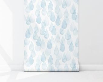 Blue Drops Peel & Stick Wallpaper, Water Rain Kids Self Adhesive Wall Mural, Geometric Pattern Removable Decal, Nursery Temporary Wall Decor