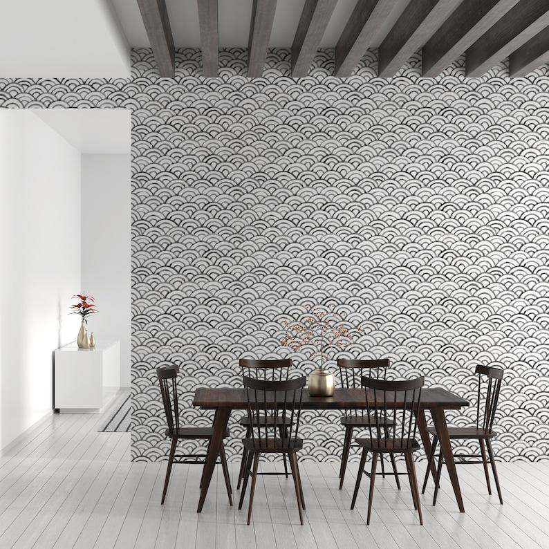 Scallop Peel & Stick Wallpaper Seashell Self Adhesive Wall image 1