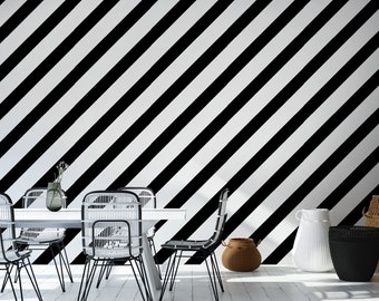 Black and White Striped Peel & Stick Wallpaper, Geometric Self Adhesive Wall Mural, Diagonal Lines Removable Decal, Temporary Wall Decor