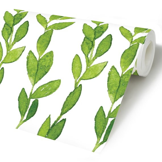 Green Leaves Peel Stick Wallpaper Botanical Self Adhesive Wall Mural Tropical Plants Removable Decal Exotic Jungle Temporary Wall Decor