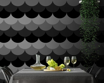 Scallop Peel & Stick Wallpaper, Geometric Seashell Self Adhesive Wall Mural, Black and White Nursery Removable Decal, Temporary Wall Decor