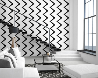 Geometric Peel & Stick Wallpaper, Scandinavian Self Adhesive Wall Mural, Chevron Removable Decal, Black and White Temporary Wall Decor
