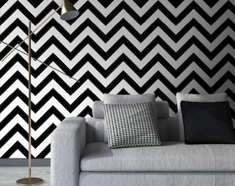 Chevron Peel & Stick Wallpaper, Scandinavian Self Adhesive Wall Mural, Geometric Removable Decal, Black and White Temporary Wall Decor