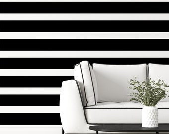 Black and White Striped Peel & Stick Wallpaper, Black Geometric Self Adhesive Wall Mural, Lines Removable Decal, Temporary Wall Decor