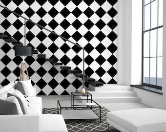 Black Rhombus Peel & Stick Wallpaper, Black And White Geometric Self Adhesive Wall Mural, Minimalist Decal, Tiles Temporary Wall Decor