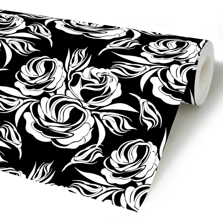 Dark Floral Peel Stick Wallpaper Black Vintage Self Etsy