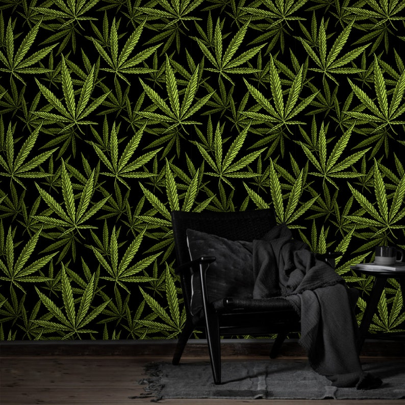 Dark Weed Leaves Wallpaper Peel and Stick Decor Botanical Self Adhesive Wall Mural Exotic Cannabis Removable Decal Marijuana Temporary