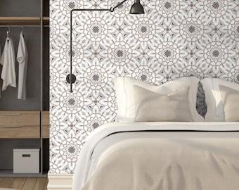 Floral Mandala Peel & Stick Wallpaper, Gray Geometric Self Adhesive Wall Mural, Vintage Removable Decal, Classic Retro Temporary Wall Decor