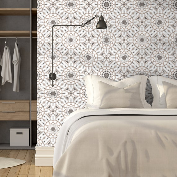 Floral Mandala Peel Stick Wallpaper Gray Geometric Self Etsy