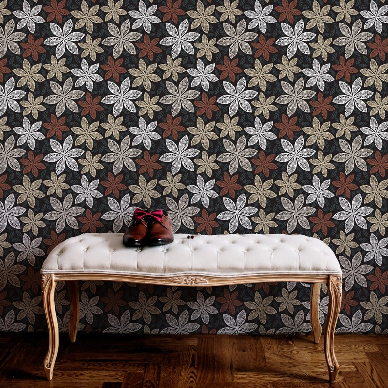 Leaves Peel /& Stick Decal Vintage Flowers Self Adhesive Wall Mural Botany Blossom Temporary Wall Decor Dark Floral Removable Wallpaper