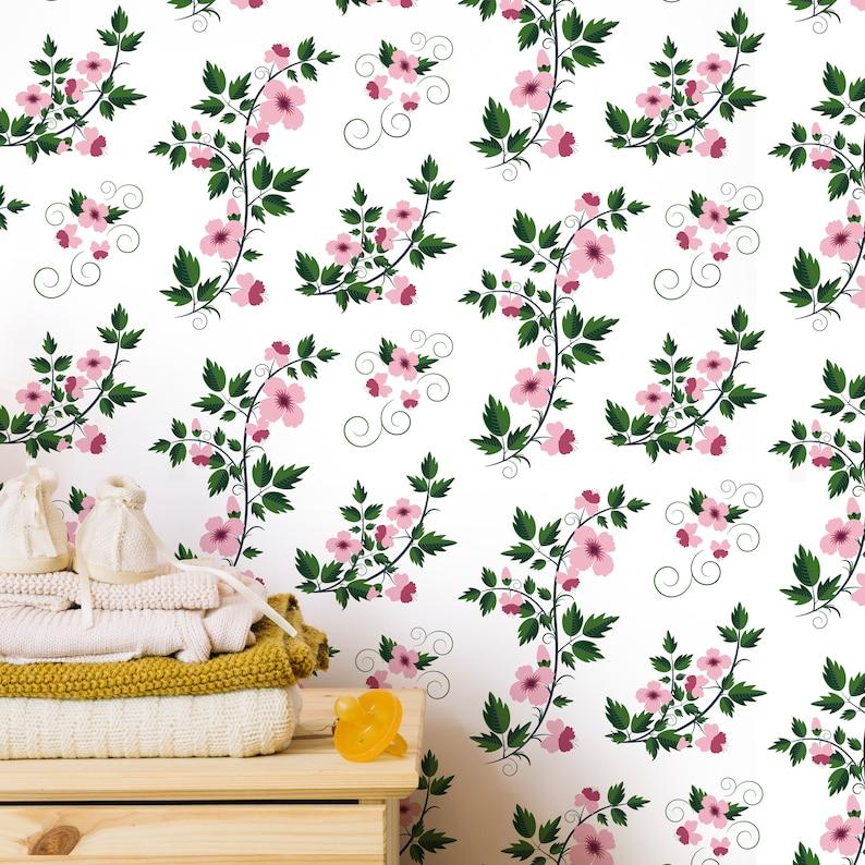 Kids Temporary Peel /& Stick Floral Vintage Wallpaper Cute Nursery Removable Wall Mural Boho Girls Retro Flowers Self Adhesive Covering