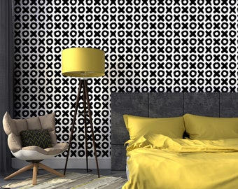 Geometric Peel & Stick Wallpaper, Tic Tac Toe Self Adhesive Wall Mural, Circle and Cross Removable Decal, Black and White Temporary Decor
