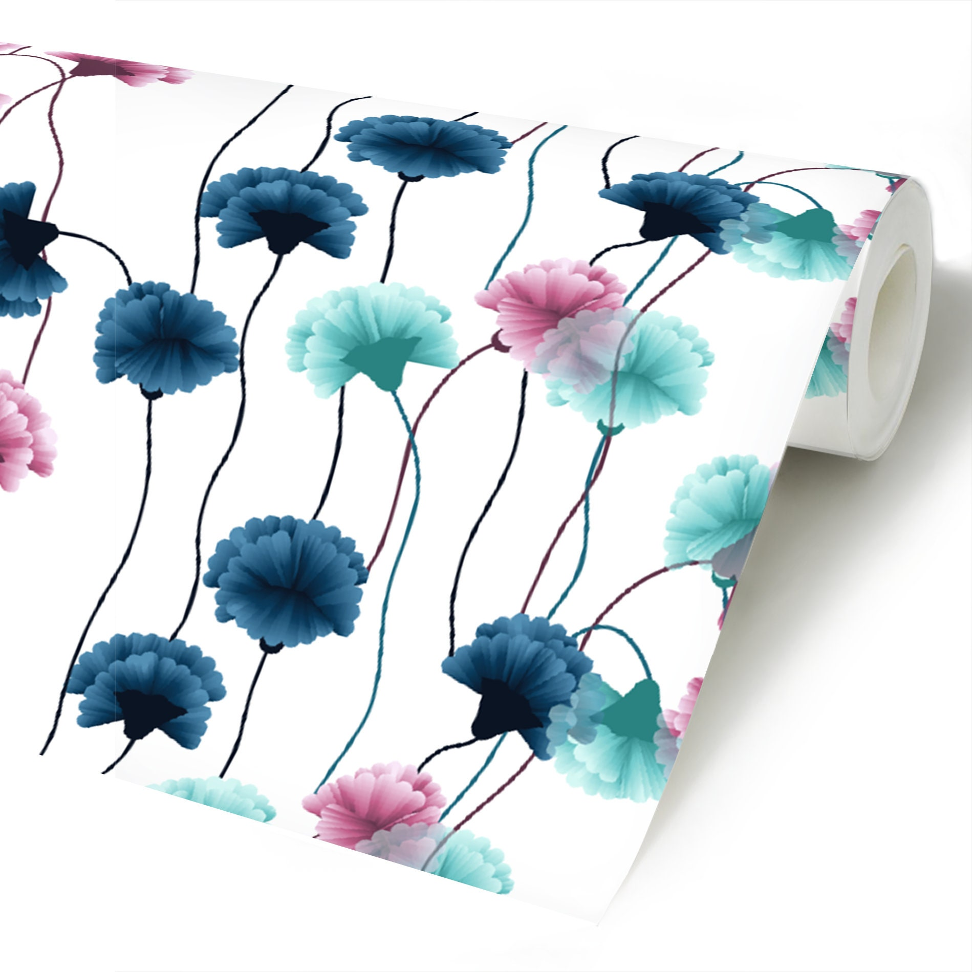 Carnation Flower Peel Stick Wallpaper Blue And Pink Floral Etsy