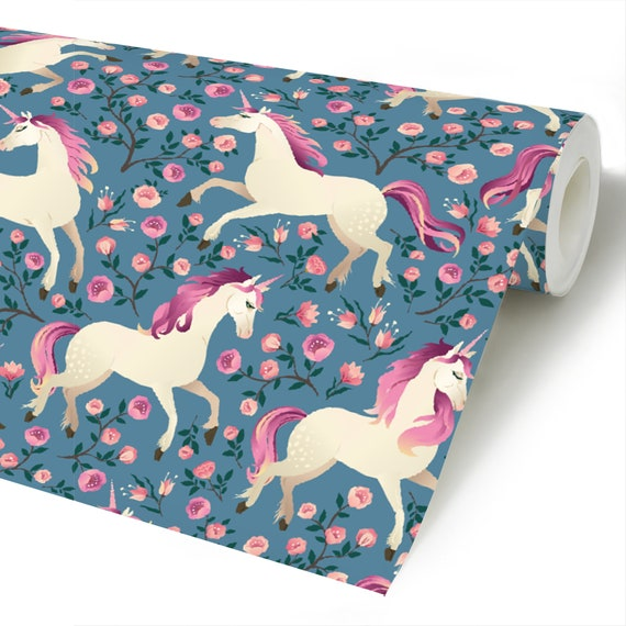 Unicorn Peel Stick Wallpaper Pink Flowers Self Adhesive Etsy