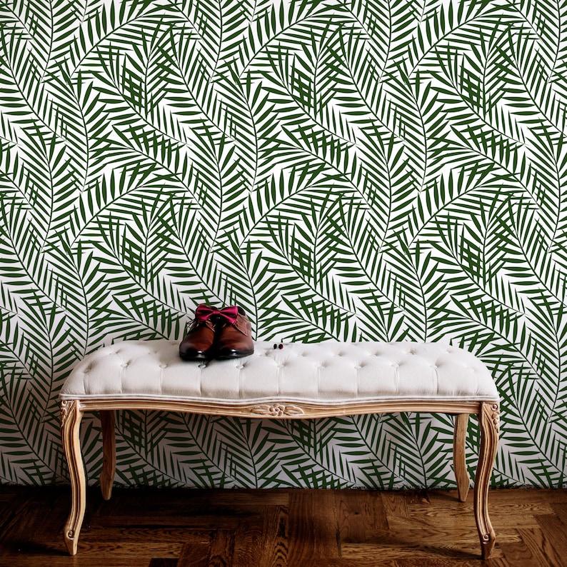 Green Exotic Removable Decal Big Dark Jungle Leaves Temporary Wall Decor Tropical Ferns Wallpaper Botanical Self Adhesive Wall Mural