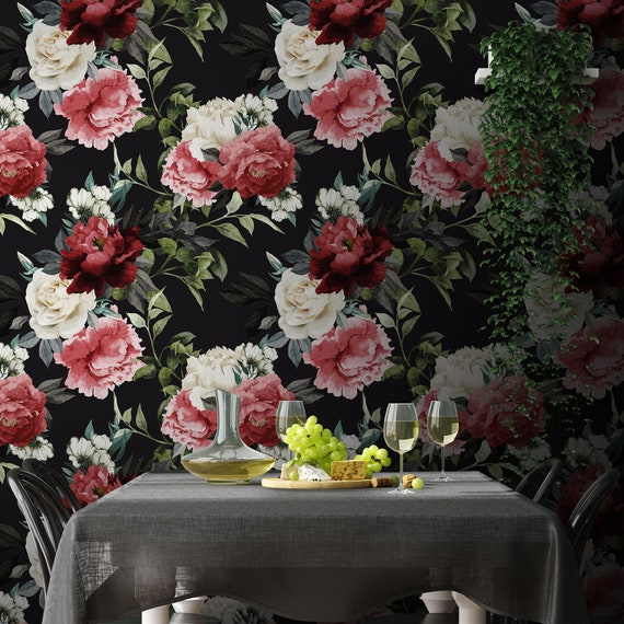 Dark Floral Vintage Wallpaper Brown Peonies Black Temporary Roses Self Adhesive Wall Decor Peel and Stick Decal Flowers Removable Mural