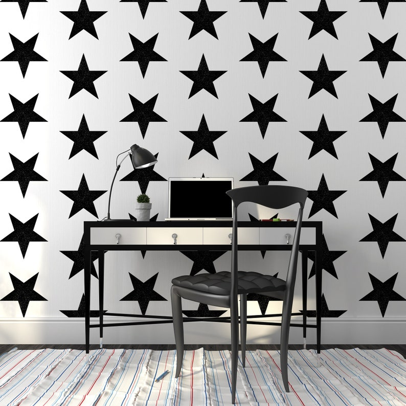 Black and White Stars Wallpaper Nursery Temporary Wall Decor Cute Girls Room Removable Decal Geometric Self Adhesive Wall Mural
