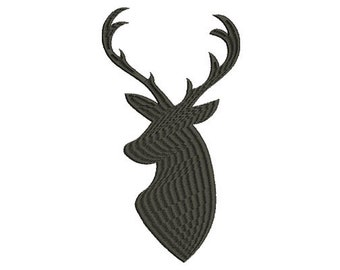 12 SIZES Deer Head Buck Antlers Silhouette Shadow Machine Embroidery