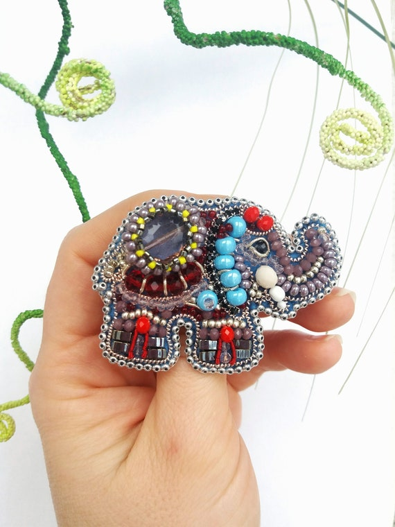 Elephant Beaded Brooch Pin Embroidered Brooches for Women Handmade Elephant Gifts for  Mom
