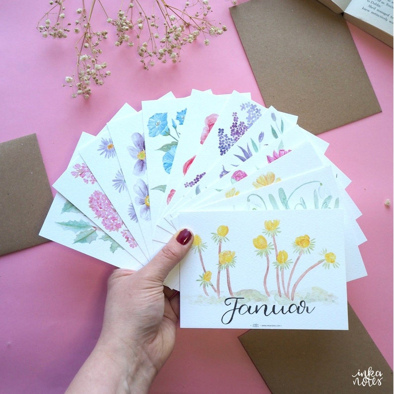 Monthly Flower Card Set  Pack of 12   Waldorf Monthly image 0