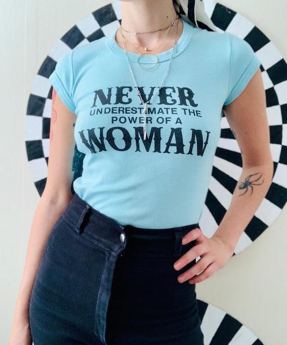 Sz Sm 1960s Feminist T-shirt Light Blue Baby Tee