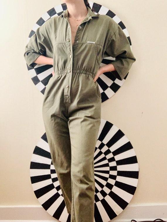 Sz Sm Army Green Olive Workwear Jumpsuit Flightsui