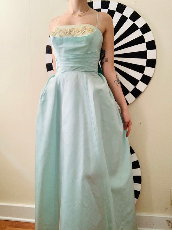 1950s Light BLUE Full Length BALL GOWN Dress Size