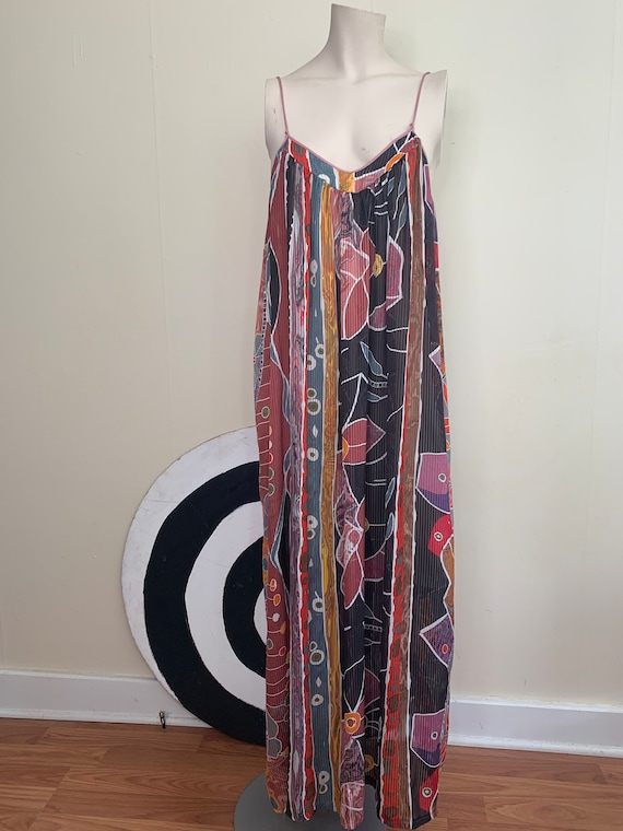 Vintage LONG Colorful ABSTRACT Print Maxi Slip DRE