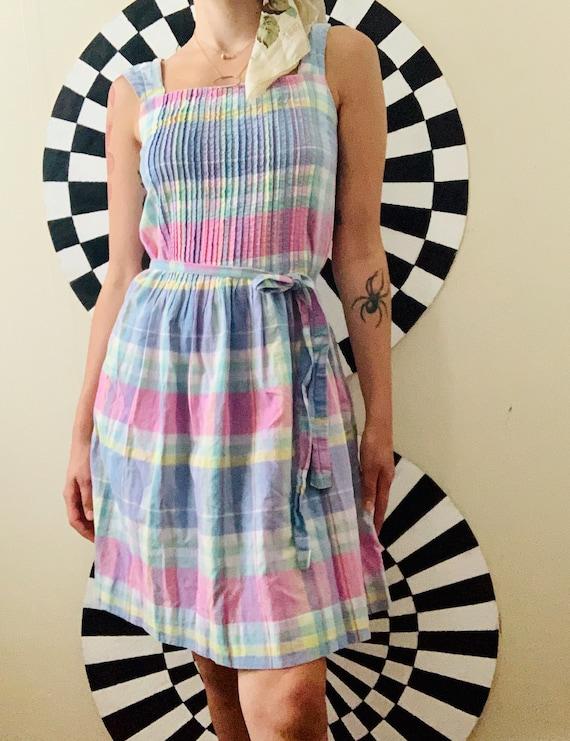 Sz Sm Pastel Plaid Cotton Mini Sun Dress