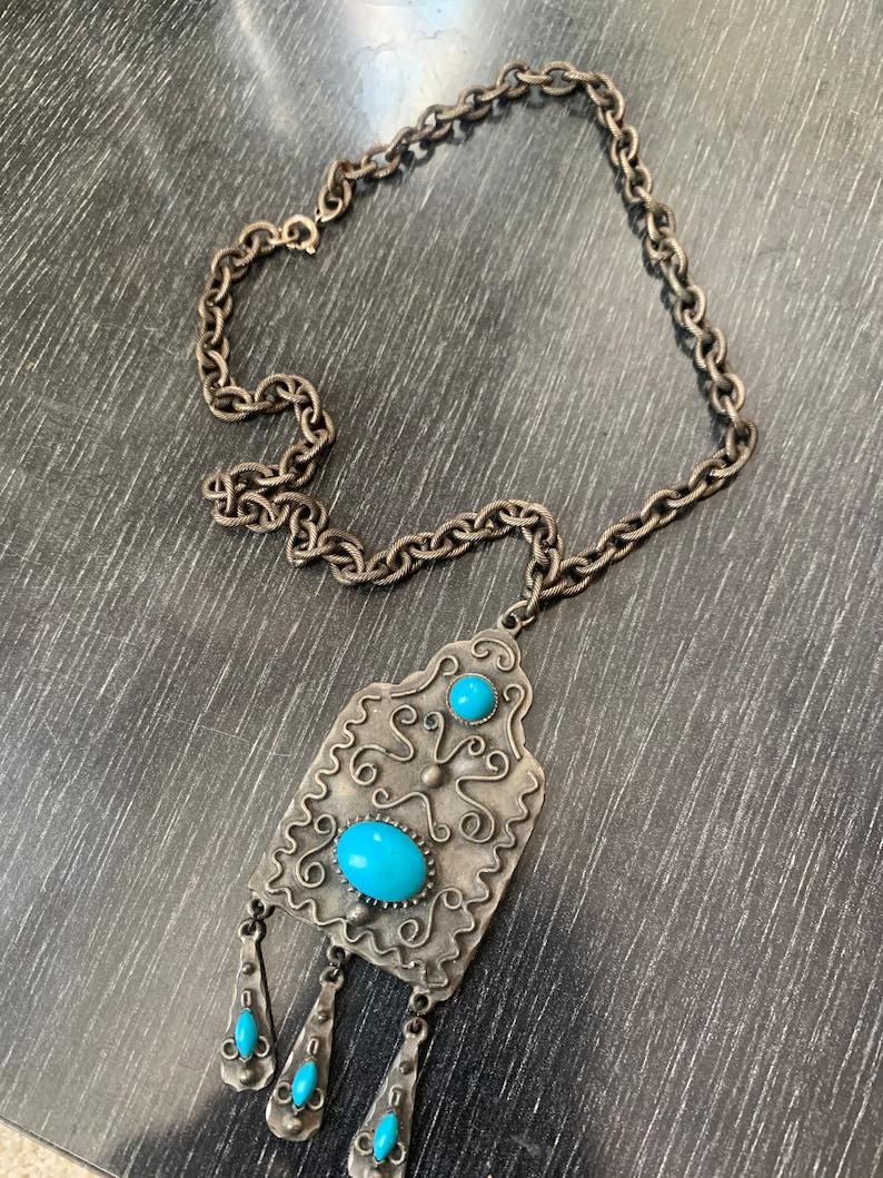 Vintage Bohemian SILVER /& TURQUOISE PENDANT Necklace