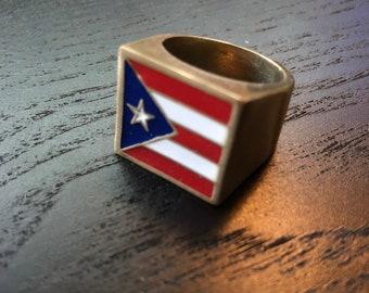 d64b172516a8 Puerto Rican Pride Flag Ring | Mens Signet Ring | Chicago Ring | Chicago Puerto  Rican Ring | Biker Brass | Biker Ring | Puerto Rico