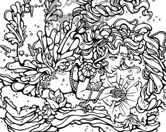 Mermaid Merfolk Serenity Art Coloring Book Pages Adult Children Design Instant Digital Black And White Printable Download PDF