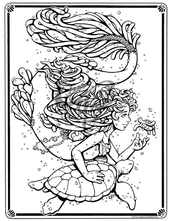 Mermaid Merfolk Pluto Turtles Art Coloring Book Pages Adult Children Design Instant Digital Black And White Printable Download Pdf