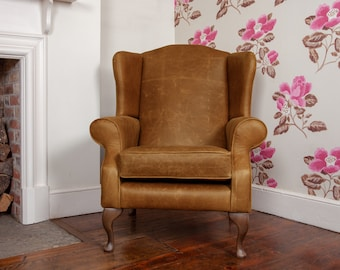 Tudor Leather Armchair With Chesterfield Style Button Back Detail