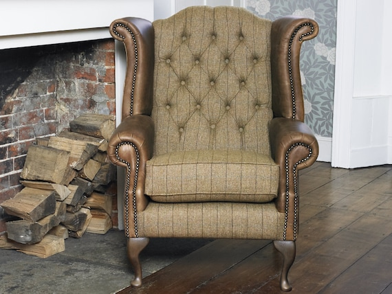Magnificent Chesterfield Queen Anne Wing Back Chair In Winter Wheat Harris Tweed Vintage Brown Leather Guaranteed Delivery Before Christmas Creativecarmelina Interior Chair Design Creativecarmelinacom