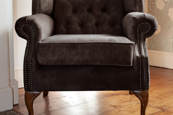 Chesterfield Queen Anne High Back Wing Chair Presented In Vintage Flint Grey Velvet