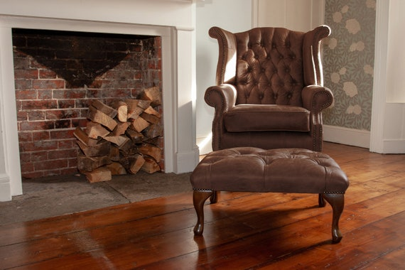 Chesterfield Queen Anne High Back Wing Chair Footstool In Etsy