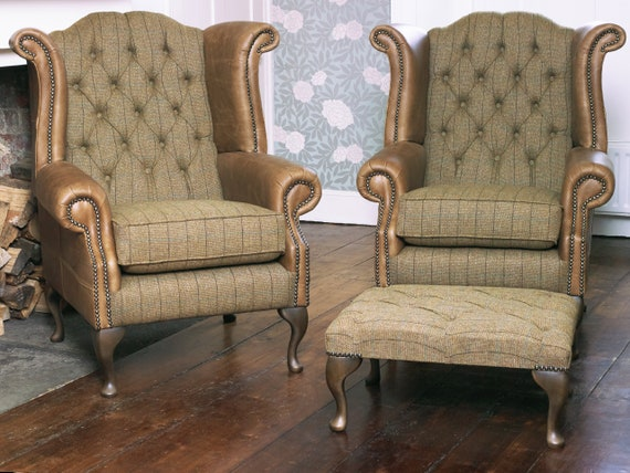 Outstanding A Pair Of Chesterfield Queen Anne Wing Back Chairs And Footstool In Winter Wheat Harris Tweed Vintage Tan Leather Creativecarmelina Interior Chair Design Creativecarmelinacom
