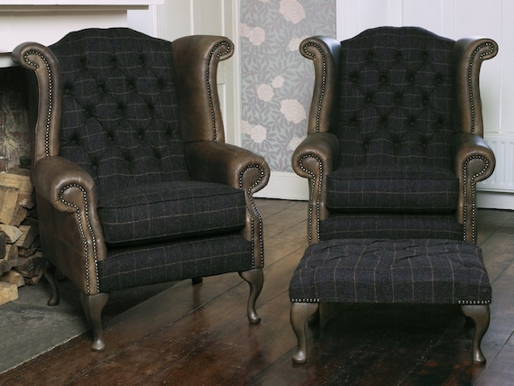 Superb A Pair Of Chesterfield Queen Anne Wing Back Chairs And Footstool In Peat Harris Tweed Vintage Brown Leather Creativecarmelina Interior Chair Design Creativecarmelinacom