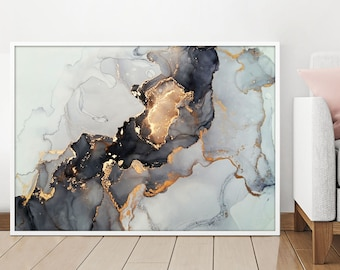Retro Abstract Wall Art Vintage Canvas Pictures Contemporary Pale Grey Abstract Lake Painting Canvas Artwork Ocean Bedroom Bathroom Living Room Office Wall Decor Framed Ready to Hang 30cm x 40cm